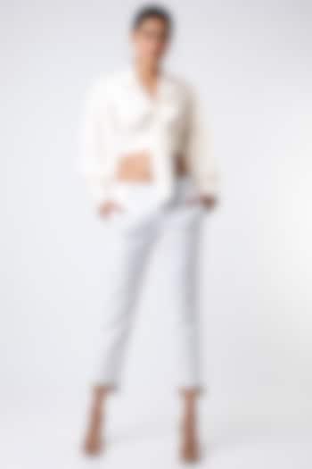 White Tie-Up Crop Top by Emblaze