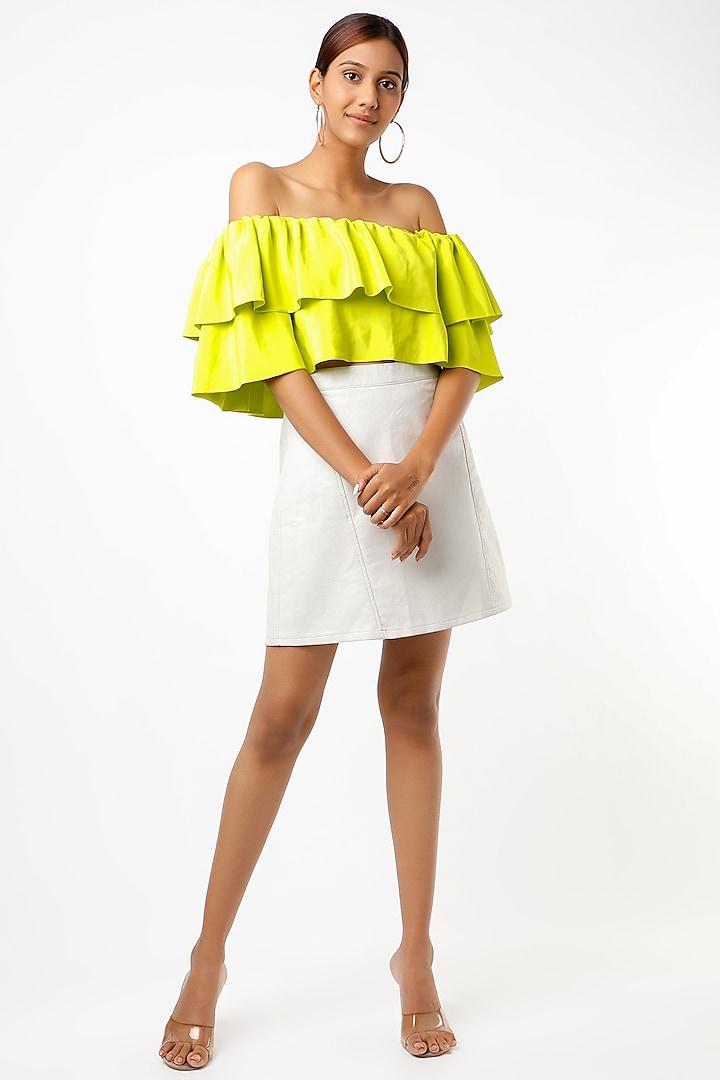 Lime Off-Shoulder Crop Top by Emblaze