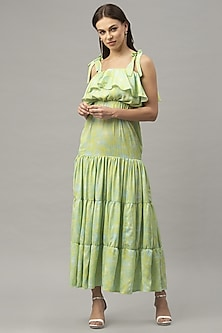 Green Sleeveless Ruffled Maxi Dress by Emblaze