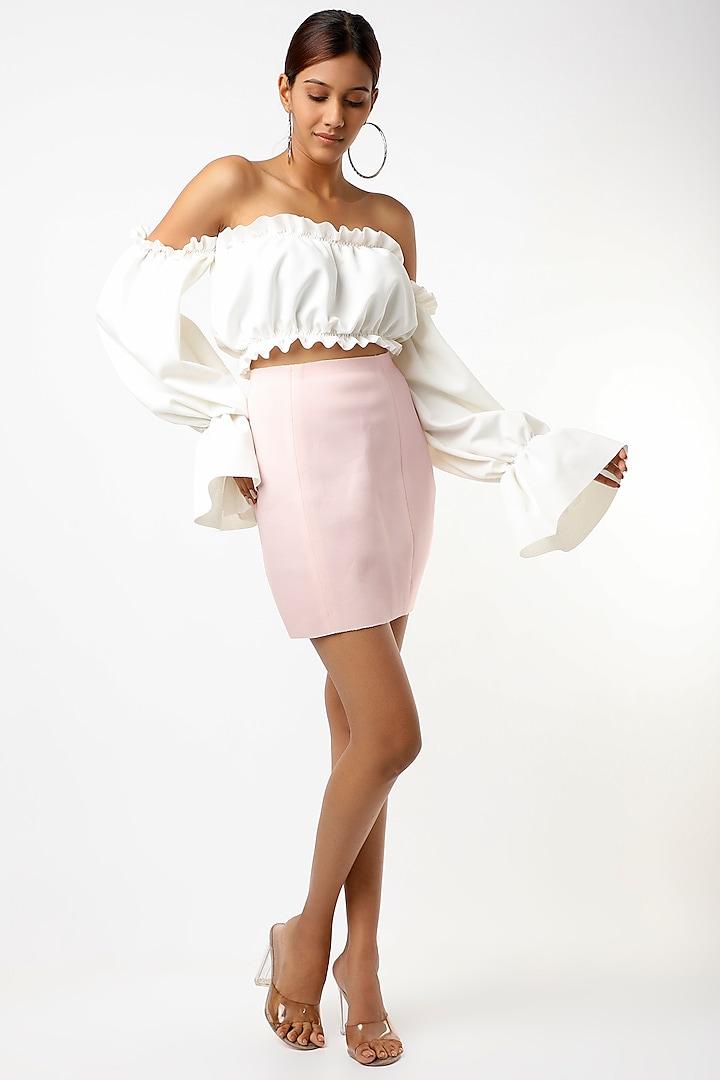 White Off-Shoulder Crop Top by Emblaze
