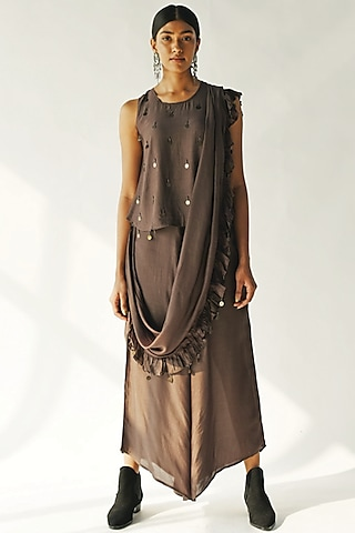 Brown Embellished Pant Saree Set by Enech By Nupur Harwani