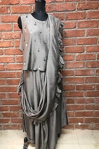 Grey Embellished Pant Saree Set by Enech By Nupur Harwani