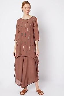 Plum Embroidered Tunic With Pants by EnEch By Nupur Harwani