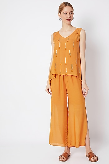 Mustard Embroidered Cape Jumpsuit by EnEch By Nupur Harwani