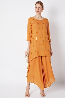 Mustard Embroidered Tunic With Pants by EnEch By Nupur Harwani
