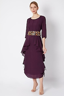 Deep Wine Dress With Jacket & Embellished Belt by EnEch By Nupur Harwani