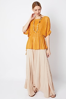 Mustard Shimmer Kimono With Pants & Necklace by EnEch By Nupur Harwani