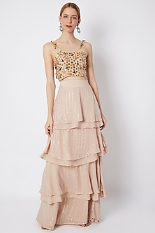Blush Pink Embroidered Bralette With Shimmer Skirt by EnEch By Nupur Harwani