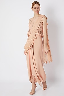 Dusty Pink Embroidered Skirt Saree Set  by EnEch By Nupur Harwani