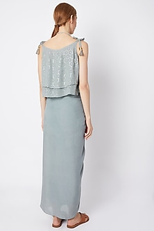 Powder Blue Shimmery Top With Wrap Skirt & Necklace by EnEch By Nupur Harwani