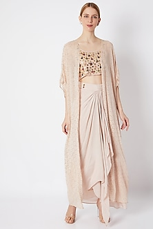 Champagne Embroidered Bralette With Cape & Skirt by EnEch By Nupur Harwani
