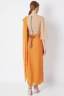 Yellow Wrap Skirt Saree Set With Belt by EnEch By Nupur Harwani