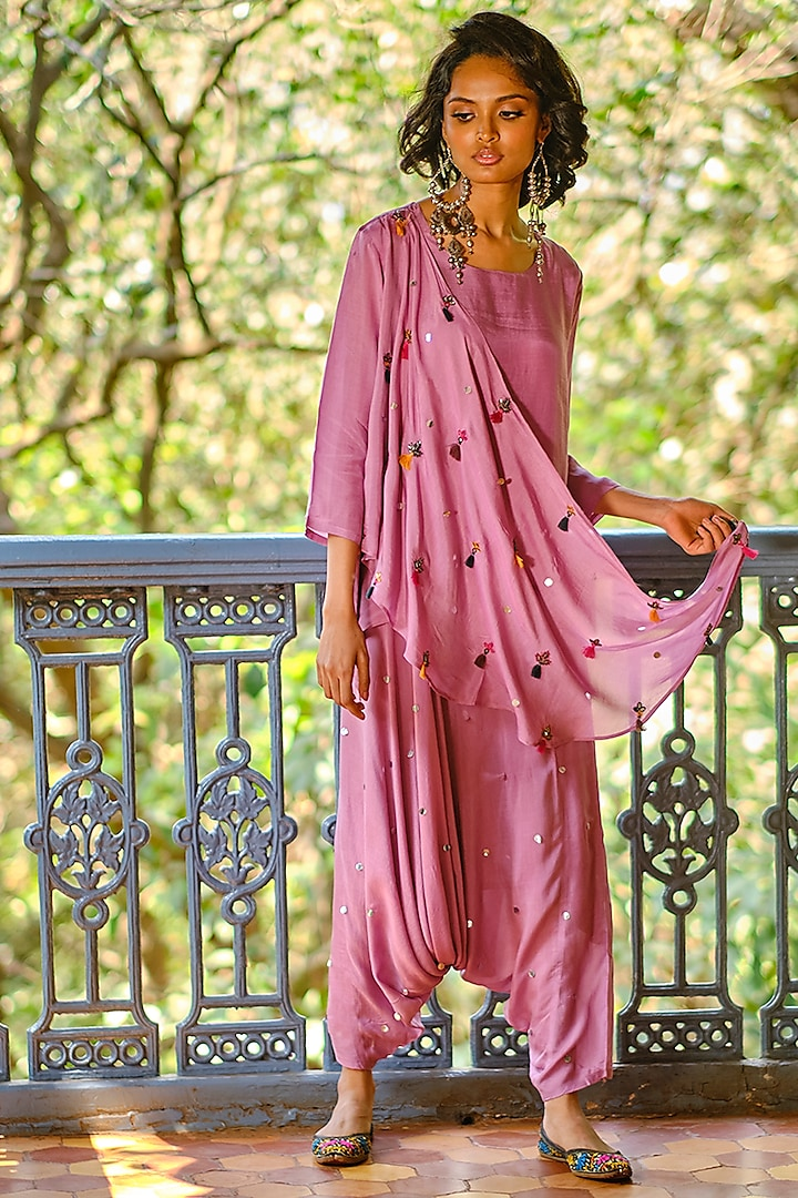 Lilac Mirror Embroidered Draped Pant Set by Enech By Nupur Harwani
