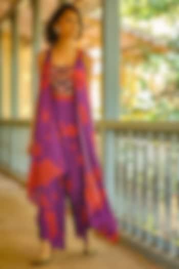 Purple Digital Printed Jacket Set by Enech By Nupur Harwani