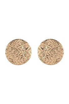 Gold Plated Basil Leaf Disc Stud Earrings by House of Esa