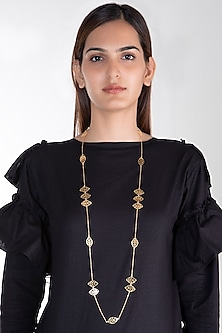 Gold Plated Basil Leaf Long Necklace by House of Esa