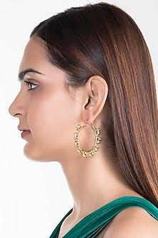 Gold Plated Haathi Hoop Earrings by House of Esa