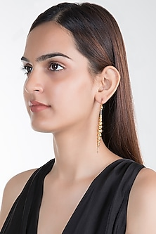 Gold Plated Long Drop Earrings by House of Esa
