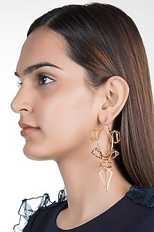 Gold Plated Tesseract Hoop Earrings by House of Esa