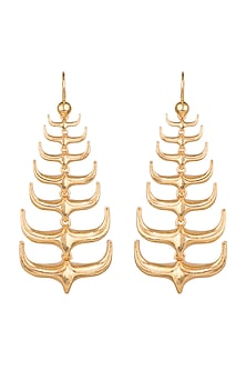 Gold Plated Horns Drop Earrings by House of Esa