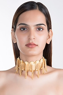 Gold Plated Tassel Choker Necklace by House of Esa