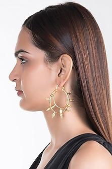 Gold Plated Jasmine Bud Hoop Earrings by House of Esa