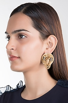 Gold Plated Horse Disc Stud Earrings by House of Esa