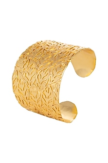 Gold Finish Cuff Bracelet by House Of Esa-JEWELLERY AS GIFTS