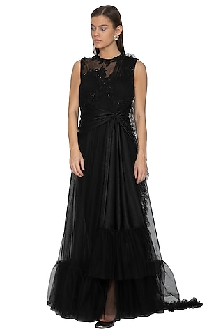 Black Embellished Gown Saree by Eshaani Jayaswal