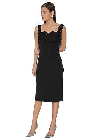 Black Hand Embellished Scalloped Neck Dress by Eshaani Jayaswal