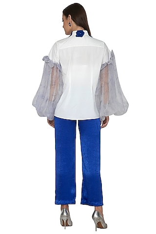 White Embroidered Shirt With Trouser Pants by Eshaani Jayaswal