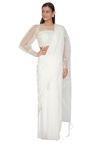 Off White Embroidered Drawstring Saree Set by Eshaani Jayaswal
