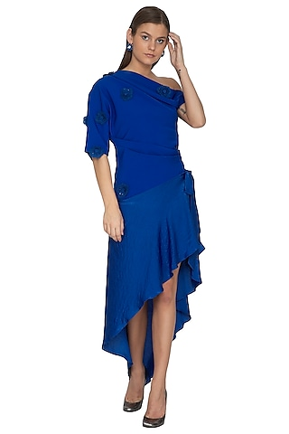 Electric Blue Embroidered Asymmetrical Wrap Dress by Eshaani Jayaswal