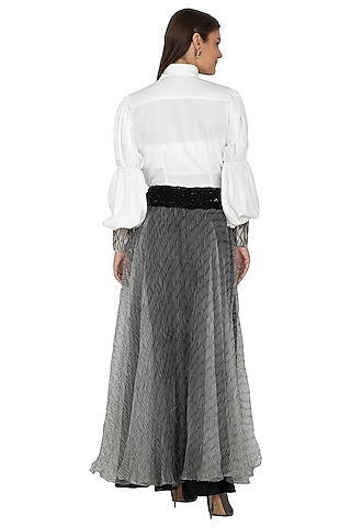 White Embroidered Shirt With Black & Grey Skirt by Eshaani Jayaswal