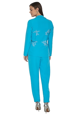 Azure Blue Embroidered Top With Pants & Jacket by Eshaani Jayaswal