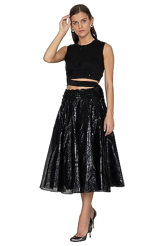 Black Embellished Crop Top With Skirt by Eshaani Jayaswal