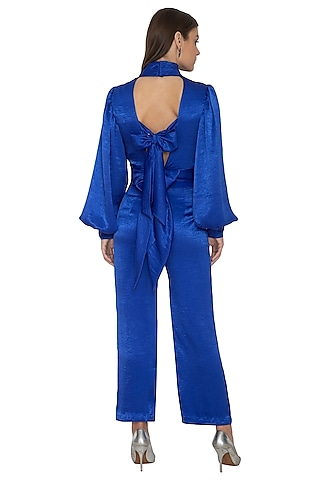 Electric Blue Embroidered Bow Tie-Up Shirt With Trouser Pants by Eshaani Jayaswal