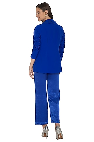 Electric Blue Embroidered Top With Pants & Jacket by Eshaani Jayaswal