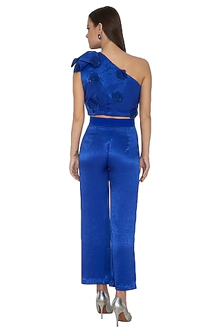 Electric Blue Embroidered Crop Top by Eshaani Jayaswal