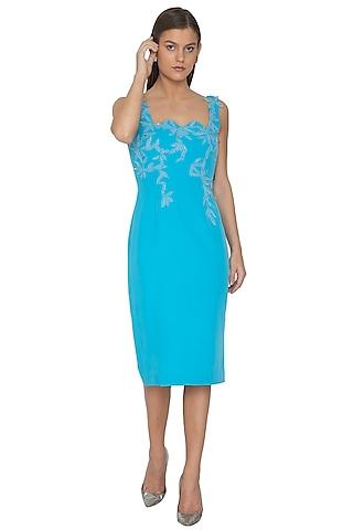 Azure Blue Embroidered Scalloped Neck Dress by Eshaani Jayaswal