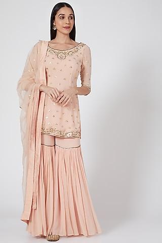 Peach Pink Embroidered Gharara Set by Esha Koul