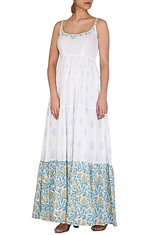 White Block Printed & Embroidered Maxi Dress by Esha Koul