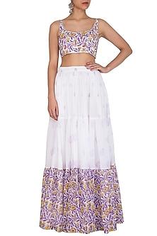 White Block Printed Crop Top With Skirt by Esha Koul