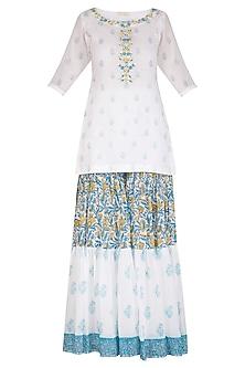 White Block Printed & Embroidered Sharara Set by Esha Koul