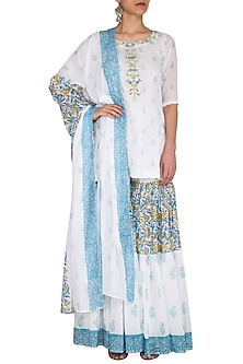 White Block Printed & Embroidered Sharara Set by Esha Koul