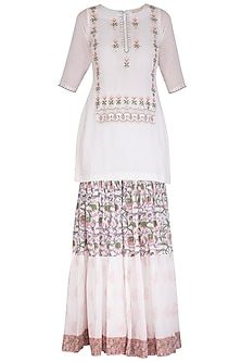 White Block Printed Embroidered Sharara Set by Esha Koul