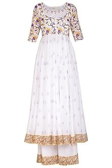 White Block Printed Embroidered Anarkali Set by Esha Koul