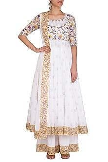 White Block Printed Embroidered Anarkali Set by Esha Koul