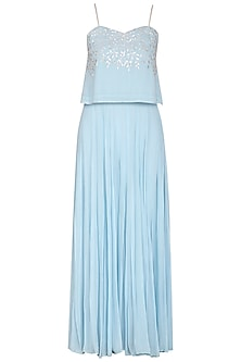 Sky Blue Embroidered Crop Top With Palazzo Pants by Esha Koul