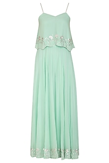 Mint Green Embroidered Crop Top With Palazzo Pants by Esha Koul
